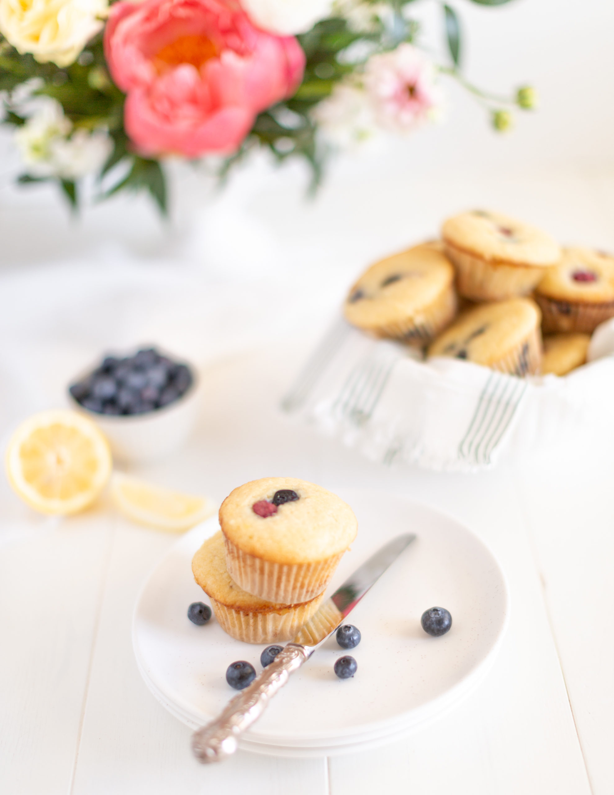 Blueberry Lemon Ricotta Muffin recipe perfect for fresh summertime berries!
