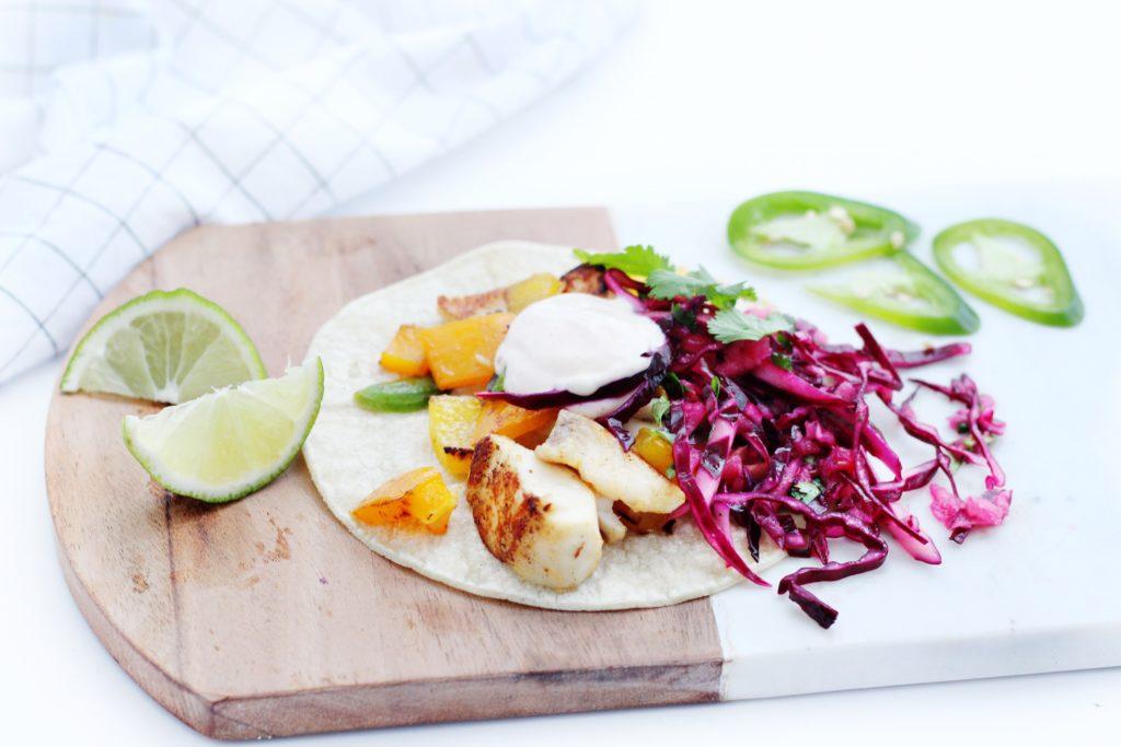 Fish Tacos with Apple Cilantro Slaw on platter