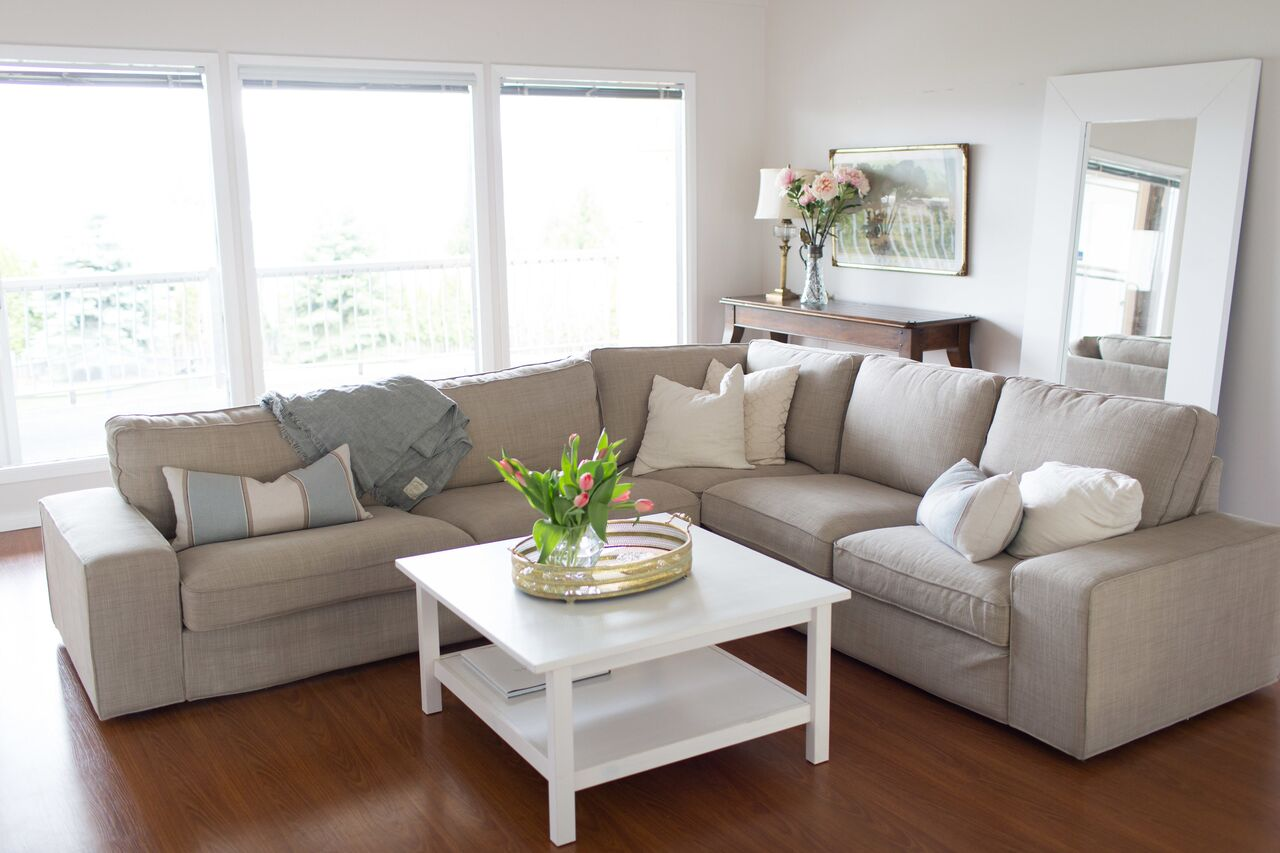 Ikea Kivik couch with Benjamin Moore Intense White walls