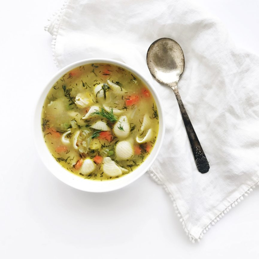 Cheater Chicken Noodle Soup with a vintage spoon and white linen napkin on fraichenutrition.com