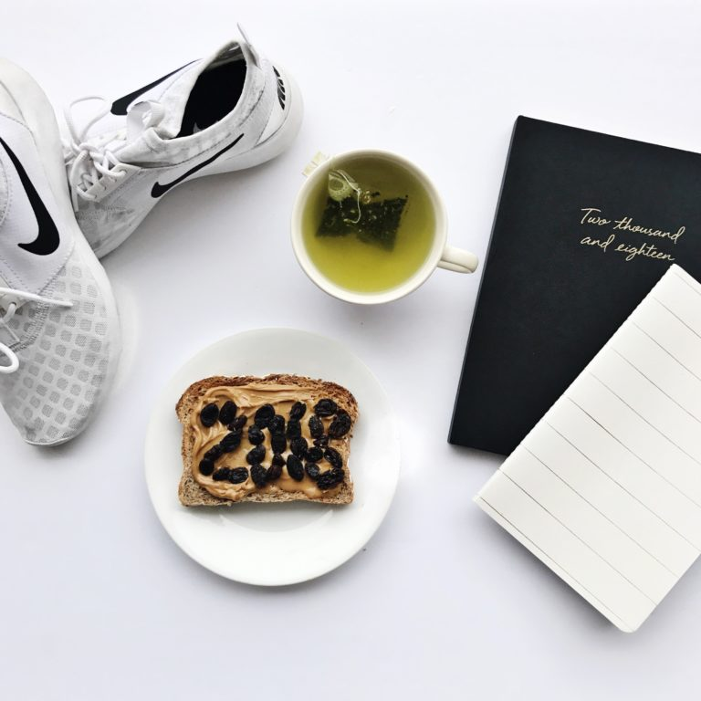 Getting ready to set doable 2018 New Years Resolutions with a planner, agenda, my Nike running shoes and of course a healthy breakfast!
