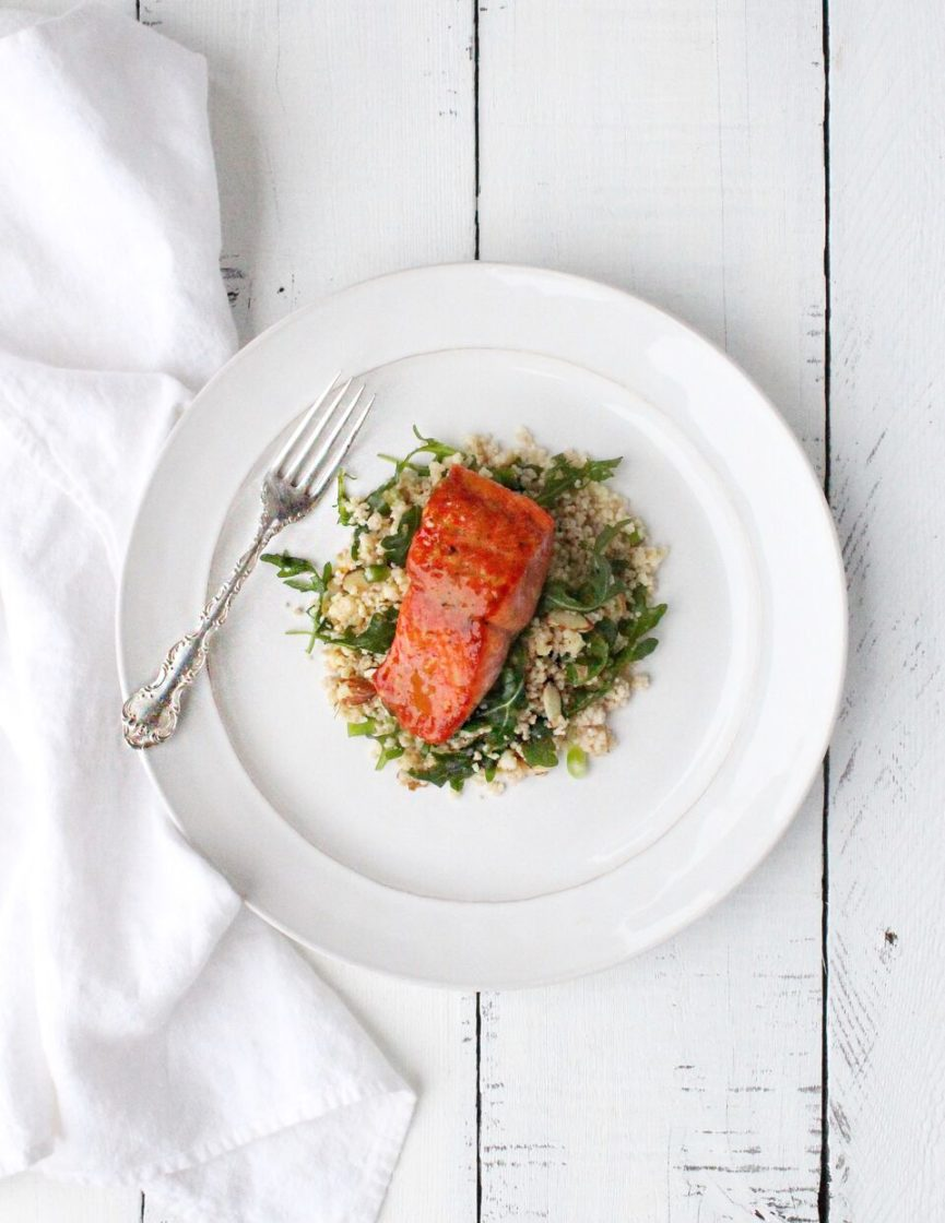 Honey Orange Glazed Salmon with Orange Almond Arugula Couscous