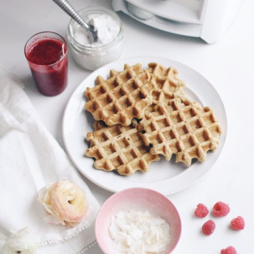 A plate of waffles stacked with raspberry sauce and coconut with the Vitamix blender.