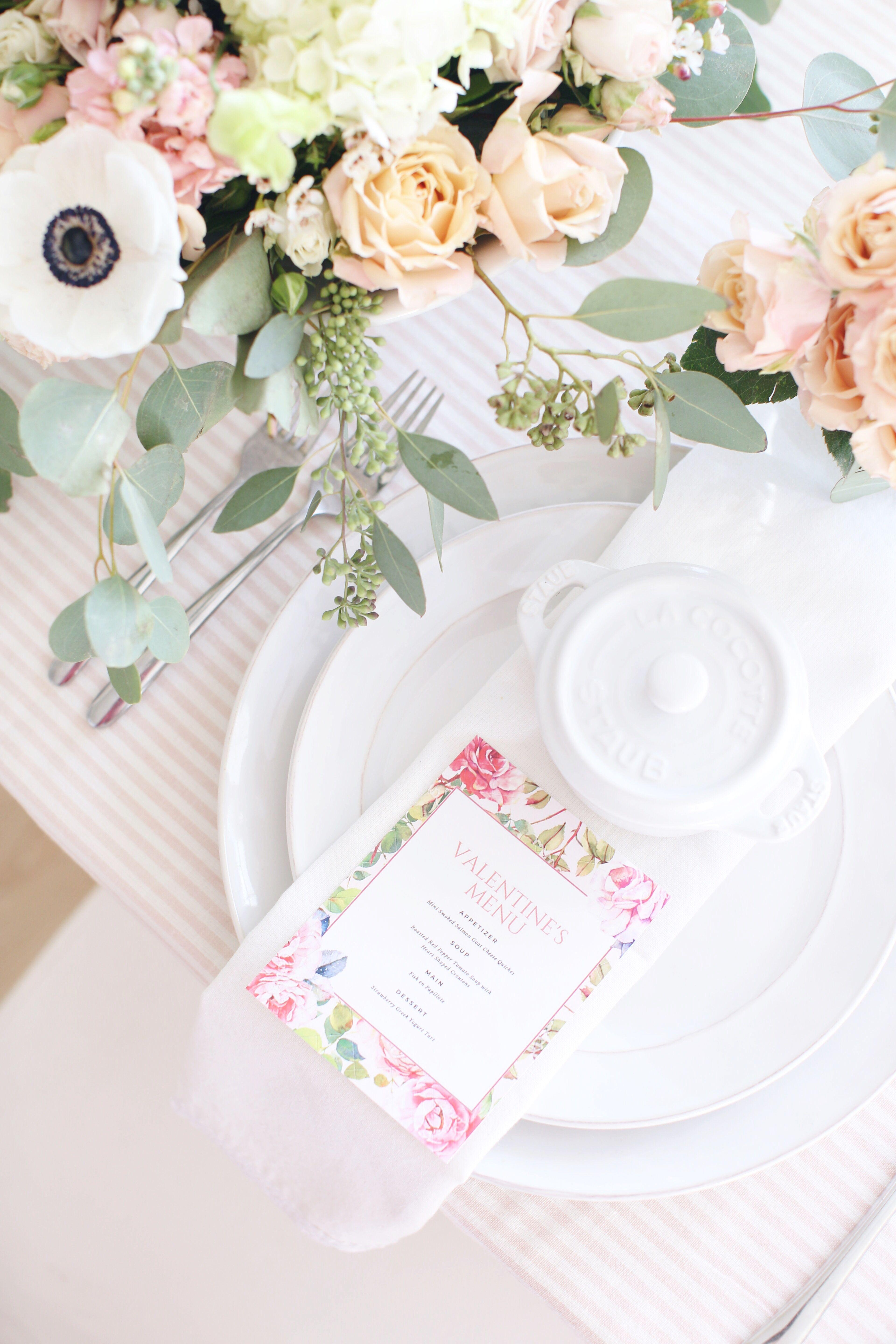 Fraiche Table Series: A complete guide to entertaining for Valentine's Day including a perfectly designed printable menu, table setting suggestions, what to wear and a workbook schedule that will keep you on track and totally prepared!