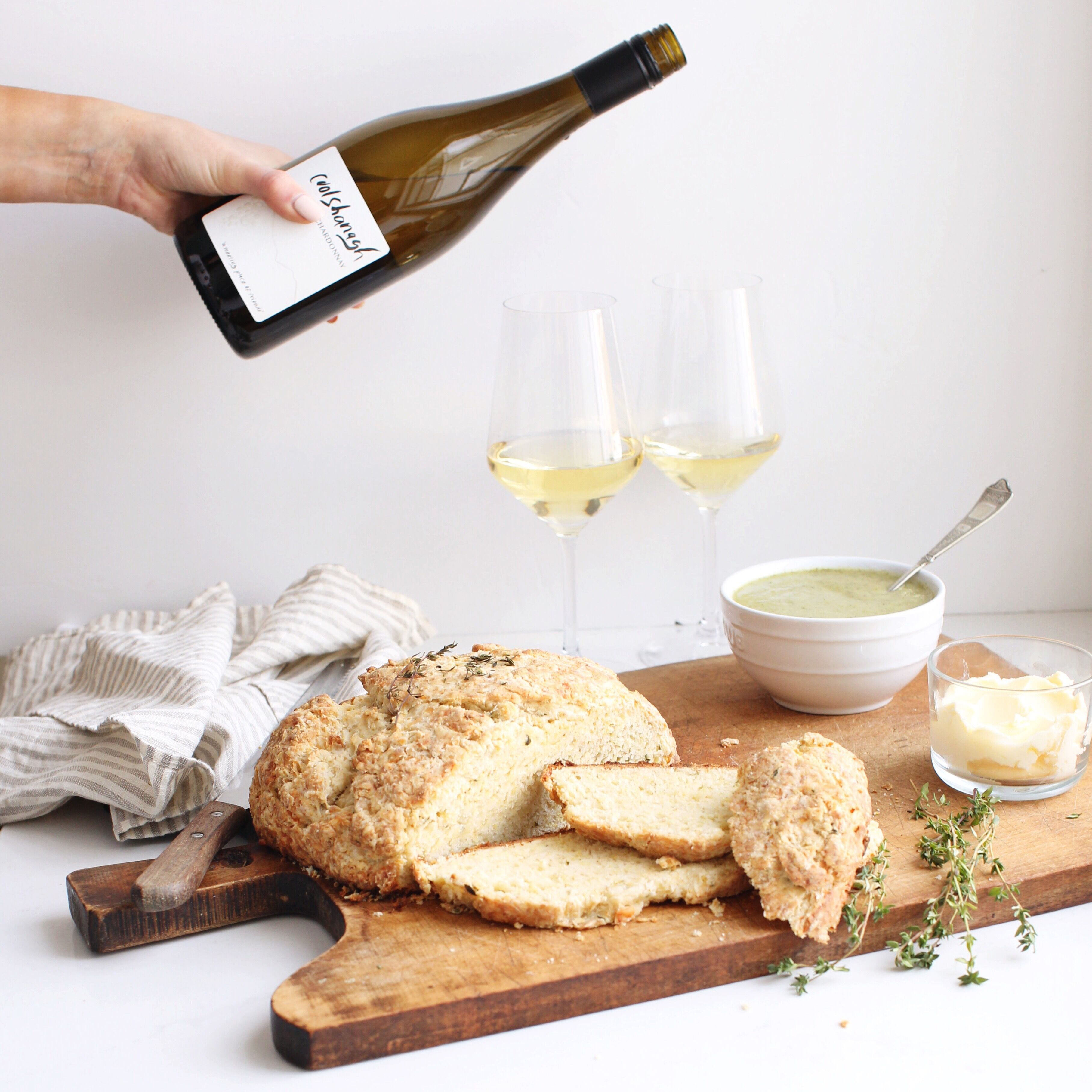 Irish soda bread with herbs and a chardonnay wine pairing perfect for St. Patrick's Day!