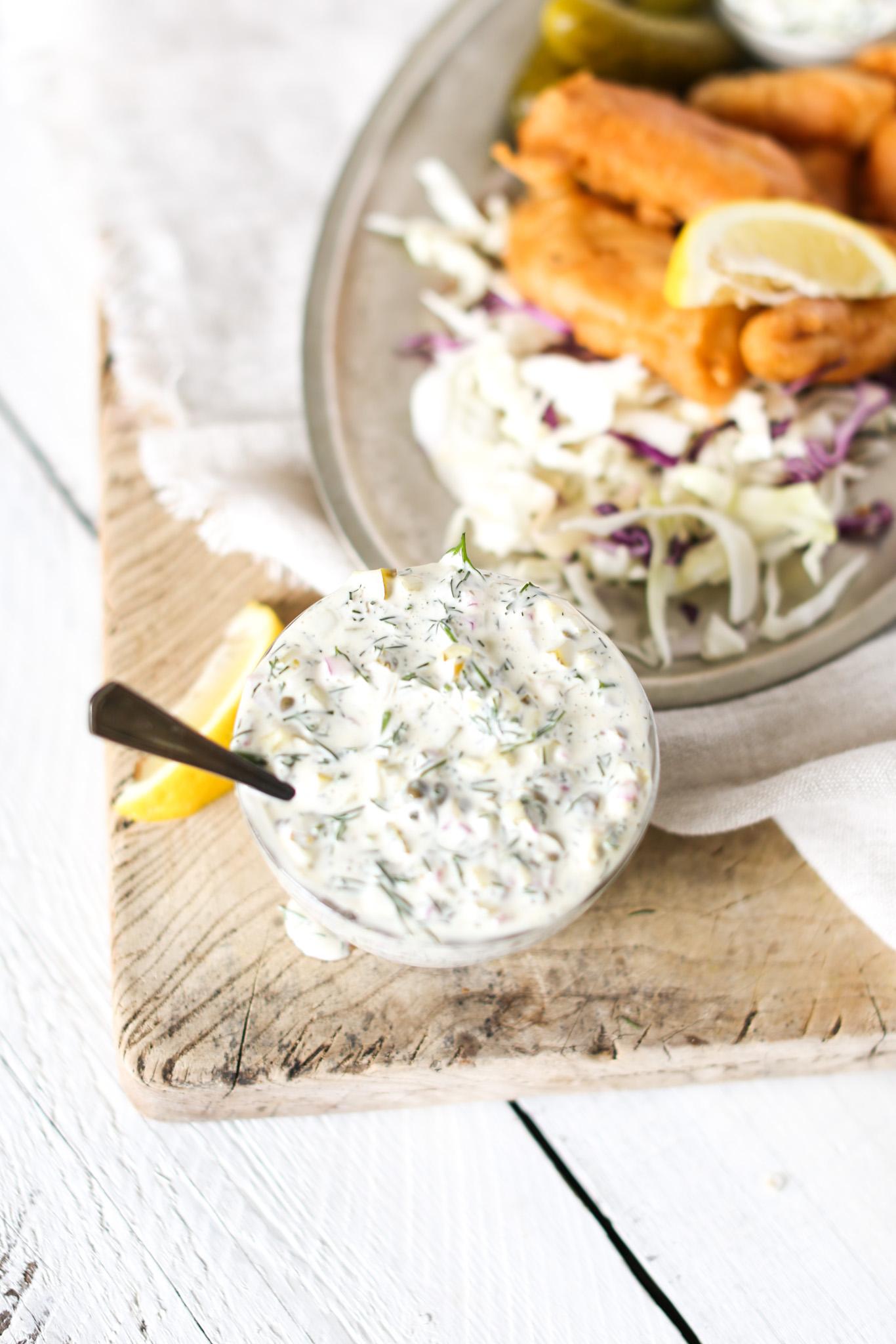 Homemade Dill Tartar Sauce serve with lemon and fried fish