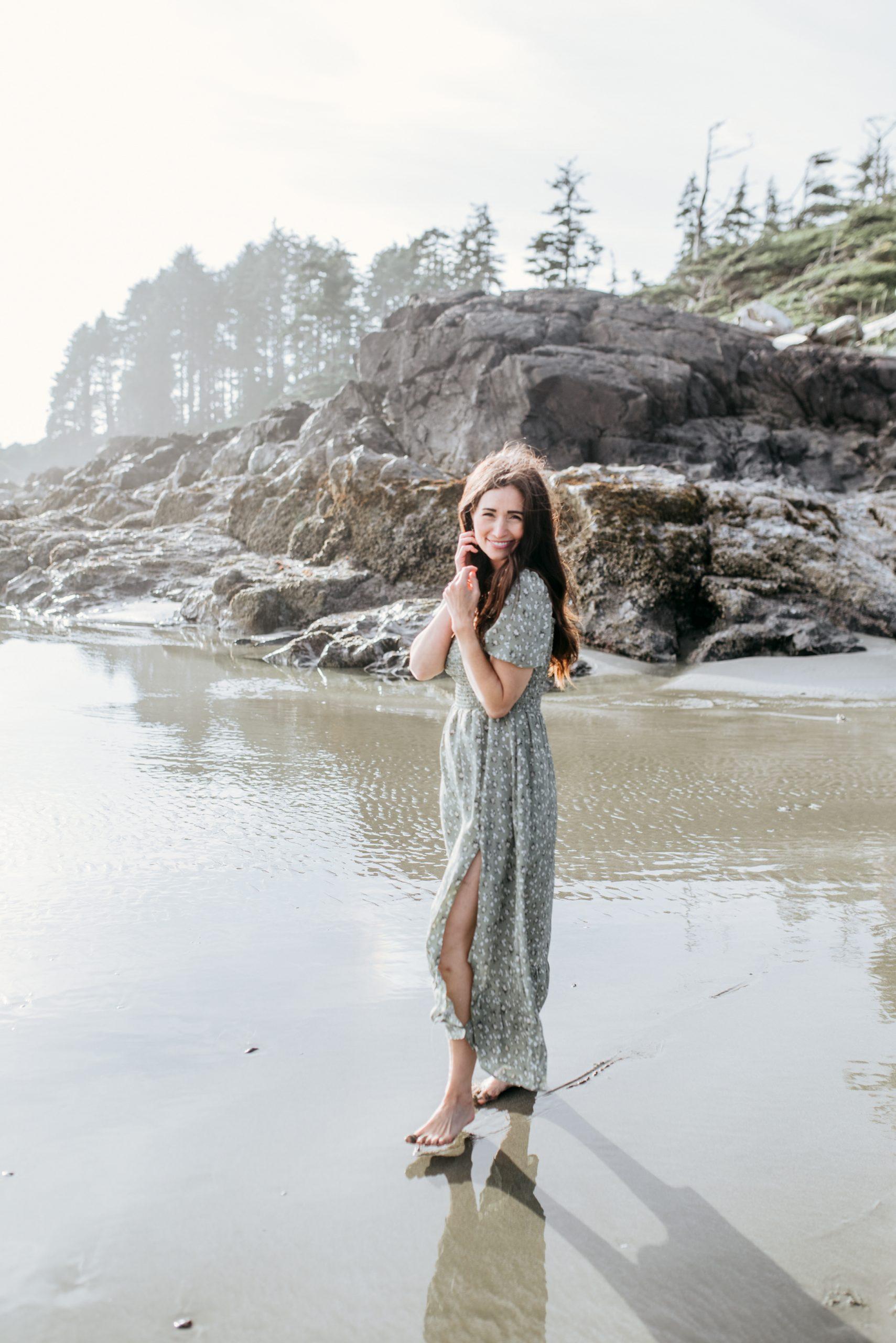 Tori Wesszer on beach in Tofino in green dress